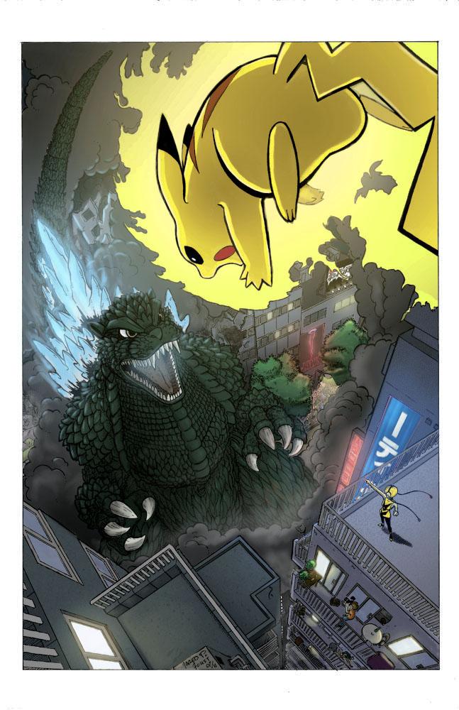 Godzilla_vs_Pikachu_colors by gfan2332