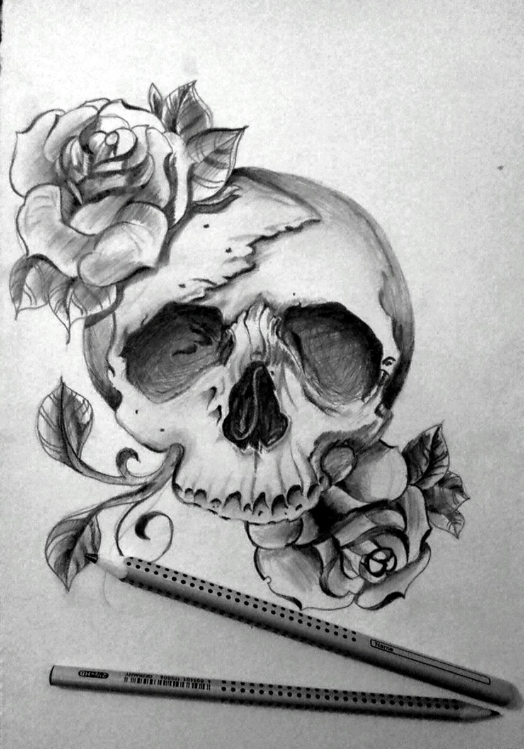 Pictures Of Awesome Drawings Of Roses And Skulls Kidskunst Info