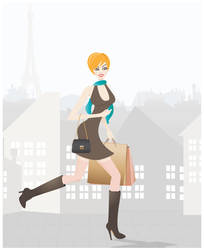 Shopping in Paris - illustration by PajkaBajka