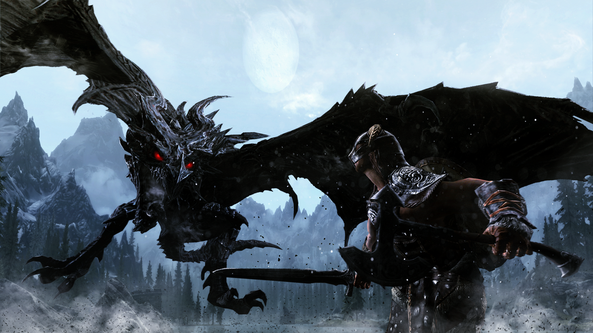 Alduin's Wrath and the Dragonborn's Bravery by LordHayabusa357