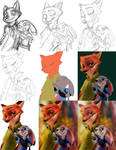 Painting Process Zootopia - Nick x Judy