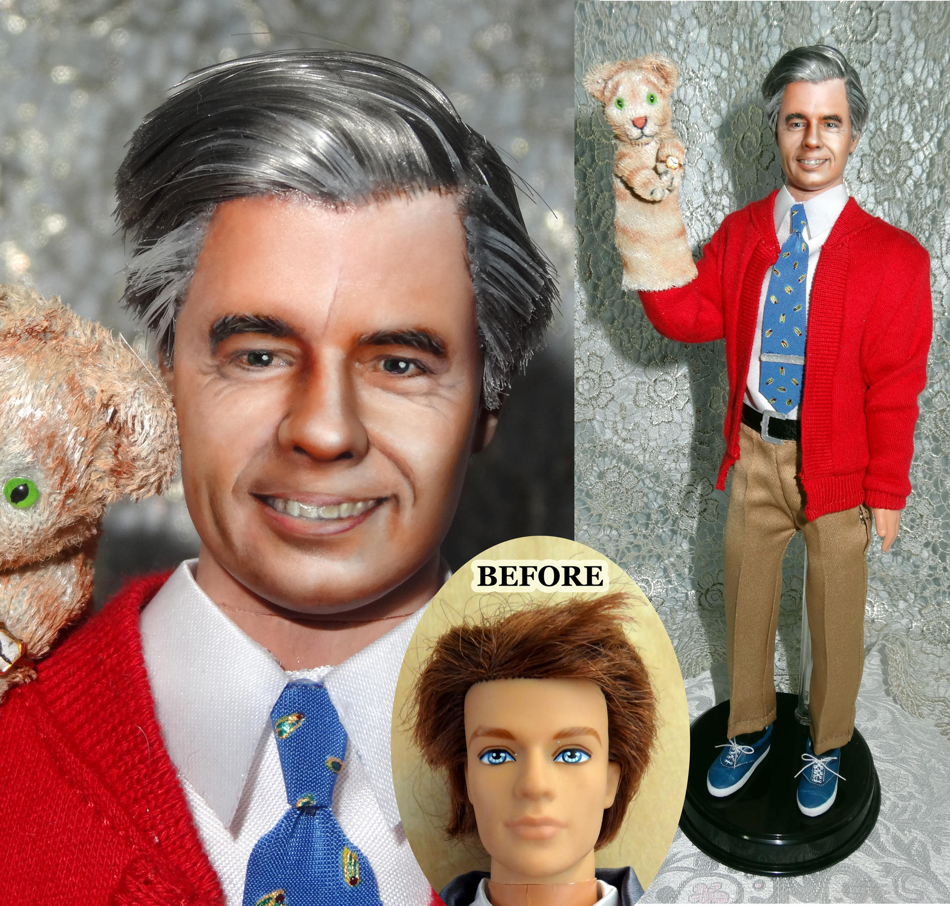 Mr Rogers Ken Doll Repaint Ooak With Daniel Tiger By Olianp On Deviantart