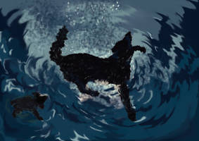 The Plague Dogs Swimming by Laudi87