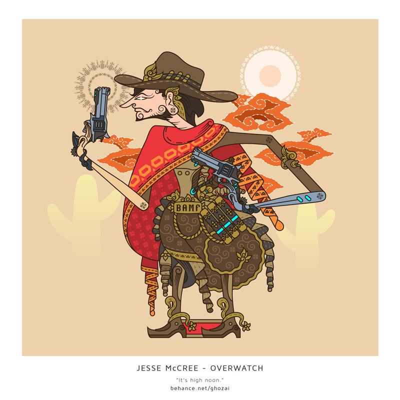 Jesse McCree wayang by ghozai