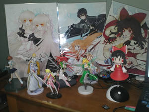 All my anime figures + the prints i got