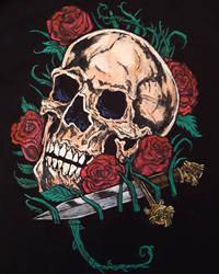 Skull and rose detail