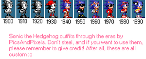 Sonic the Hedghehog Outfits through the Eras