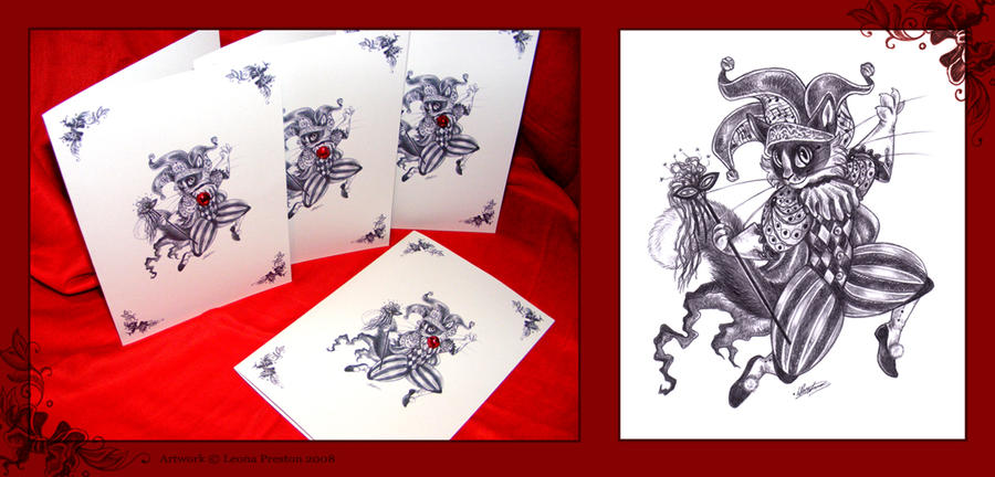 Harlequin Cat Card by Leopreston