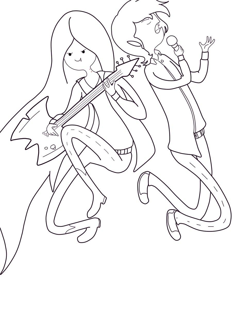 Lineart marceline and marshall lee by sora1996 on deviantart for Marceline coloring pages