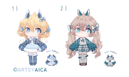 [OPEN] Auction: Ojou-Sama Owl Adoptables by ArtsyAica