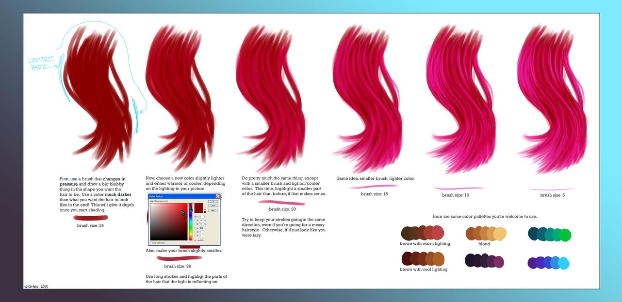 digital hair shading tips by wick y on deviantart