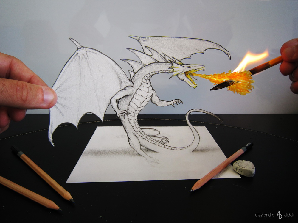 3D Illusion Drawings by Alessandro Diddi #artpeople