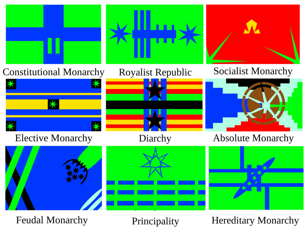 Different Monarch Types of Flags of Xinjalka by XarTario