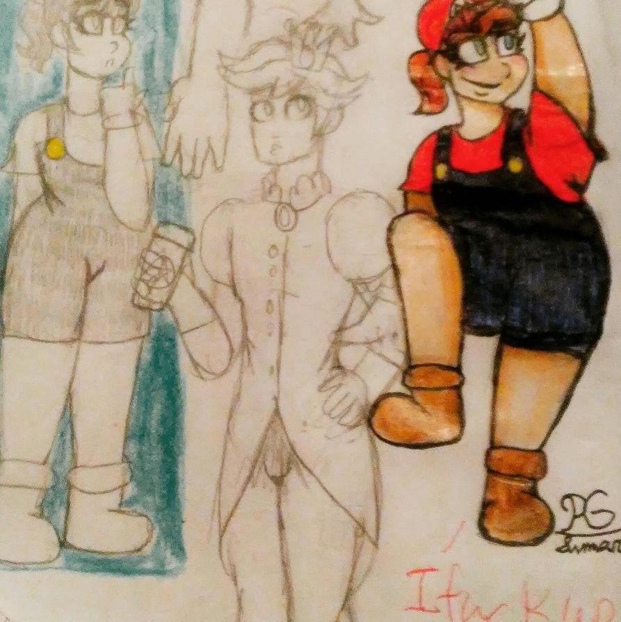 Super Maria Sisters (Mario gender bend designs) by xxdarkelsaxx
