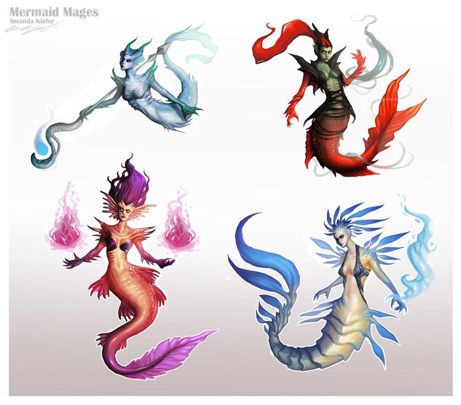 Mermaid Mage Variations by AmandaKieferArt