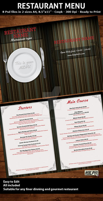 Elegant Restaurant Menu Templa by Hotpindesigns