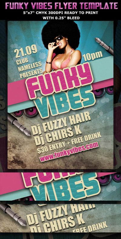 funky vibes party club flyer template by hotpindesigns on deviantart
