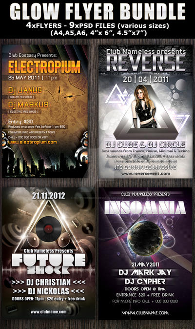 Glow Party-Club Flyer Template Bundle by Hotpindesigns