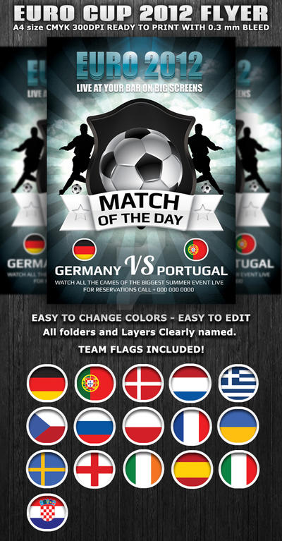 Euro Cup 2012 Football Flyer template by Hotpindesigns on ...