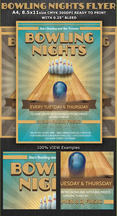 bowling nights party flyer template by hotpindesigns on deviantart. Black Bedroom Furniture Sets. Home Design Ideas
