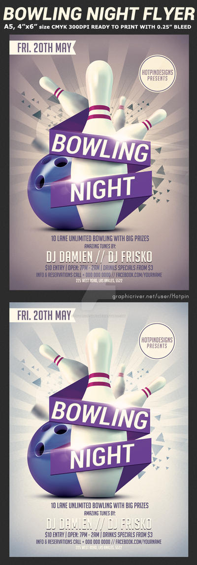 bowling night flyer template v2 by hotpindesigns on deviantart. Black Bedroom Furniture Sets. Home Design Ideas