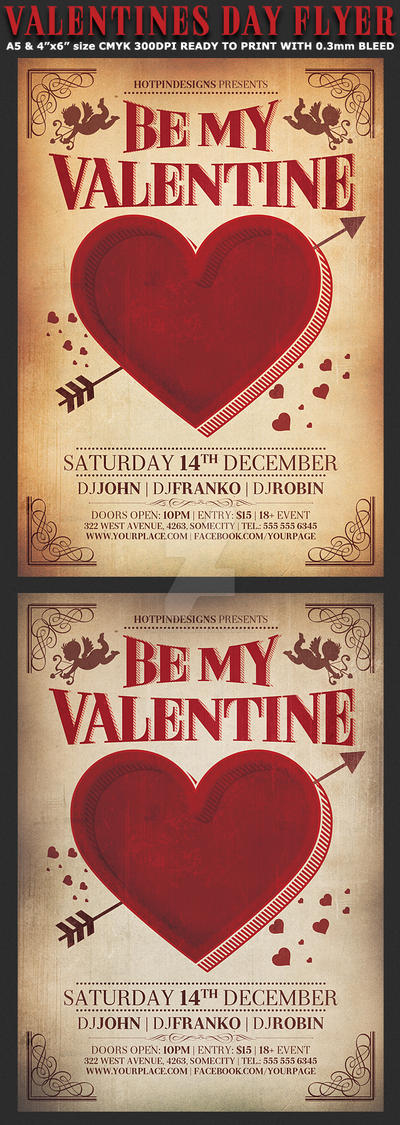 Valentines Day Vintage Flyer Template By Hotpindesigns On Deviantart