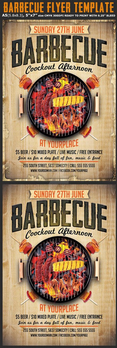 BBQ / Barbecue Flyer Template by Hotpindesigns