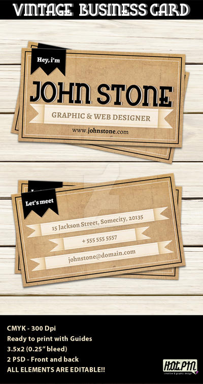 Vintage Business Card Template by Hotpindesigns
