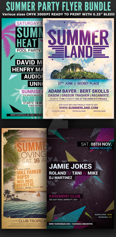 The Summer Party Flyer Bundle by Hotpindesigns