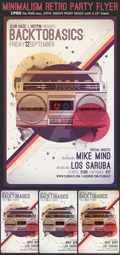 Minimalism Retro Party Flyer Template by Hotpindesigns