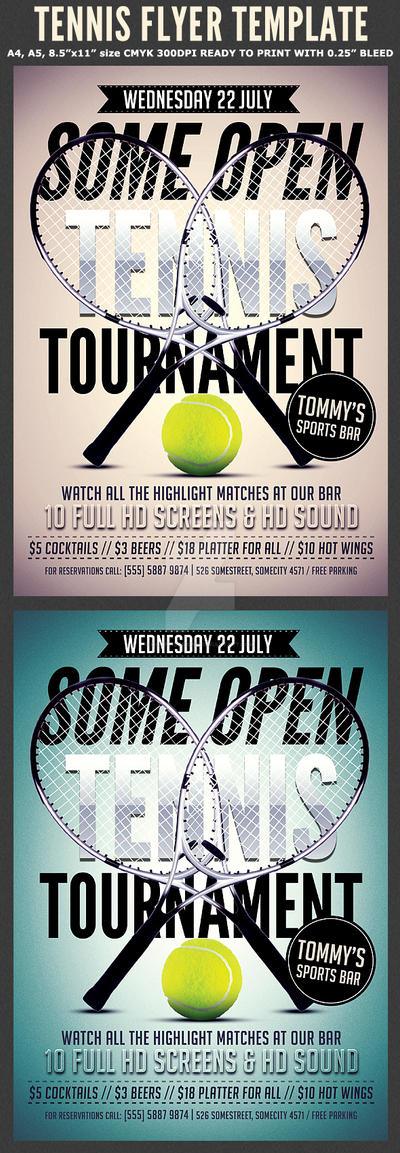 Tennis Flyer Template by Hotpindesigns