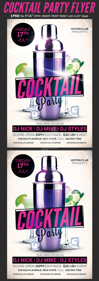 Cocktail Party Flyer Template 3 by Hotpindesigns
