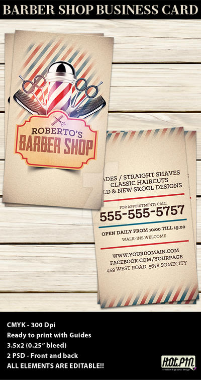 Barber Shop Business Card Template by Hotpindesigns