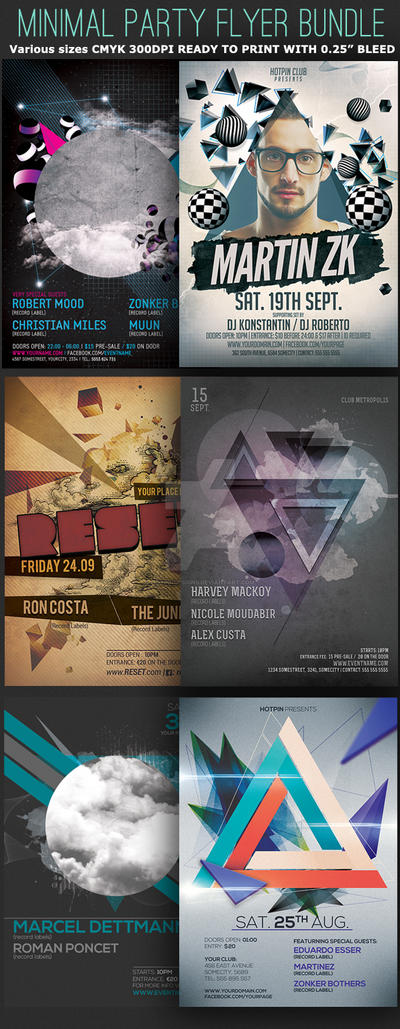 Minimal Party Flyer Template Bundle by Hotpindesigns