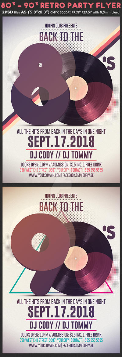 80s-90s Retro Party Flyer Template by Hotpindesigns