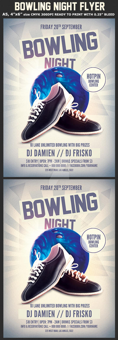 bowling night flyer template by hotpindesigns on deviantart. Black Bedroom Furniture Sets. Home Design Ideas