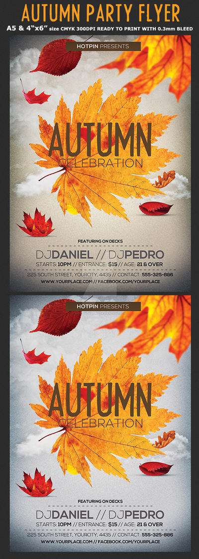 Autumn/Fall Party Flyer Template by Hotpindesigns