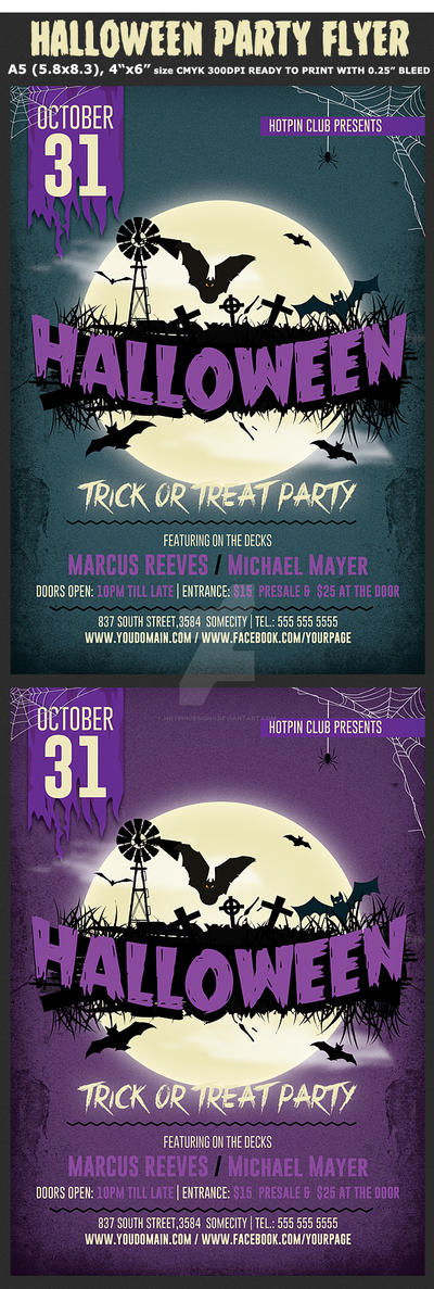 Halloween Party Flyer Template 4 by Hotpindesigns