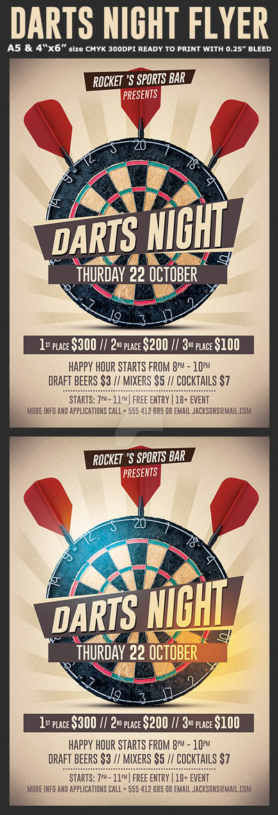 Darts Night Flyer Template by Hotpindesigns