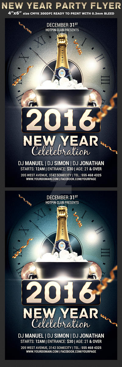 New Year Celebration Flyer Template by Hotpindesigns
