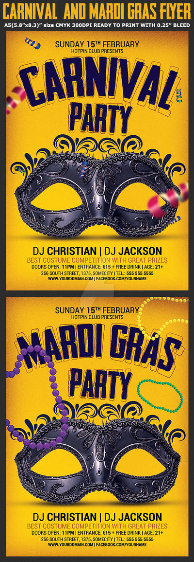 Carnival and Mardi Gras Party Flyer by Hotpindesigns