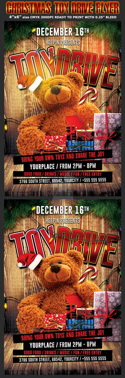 Toys For Tots Flyers Editable : Christmas toy drive flyer template by hotpindesigns on