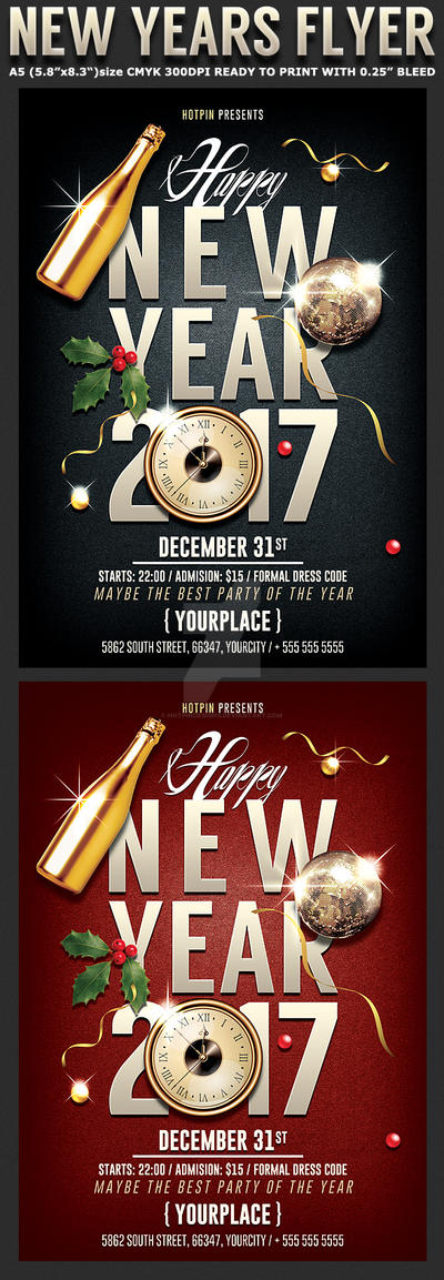 Hotpindesigns 0 1 New Year Party Flyer Template By Hotpindesigns