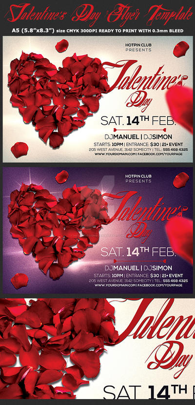Valentines Day Flyer  Psd Template by Hotpindesigns