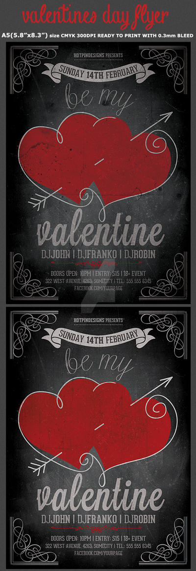 Vintage Valentines Party Flyer Template by Hotpindesigns