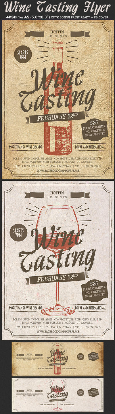 Wine Tasting Flyer Template by Hotpindesigns