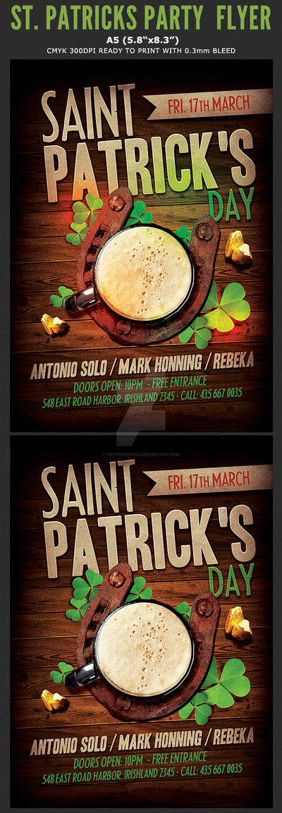 Saint Patricks Flyer Template by Hotpindesigns