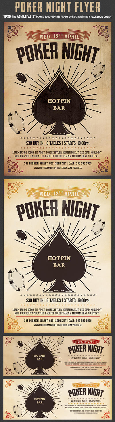 Vintage Poker Night Flyer Template by Hotpindesigns