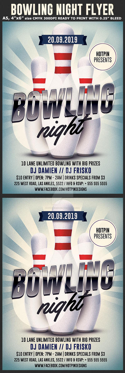 Bowling Night Flyer Template By Hotpindesigns On DeviantArt - Bowling event flyer template