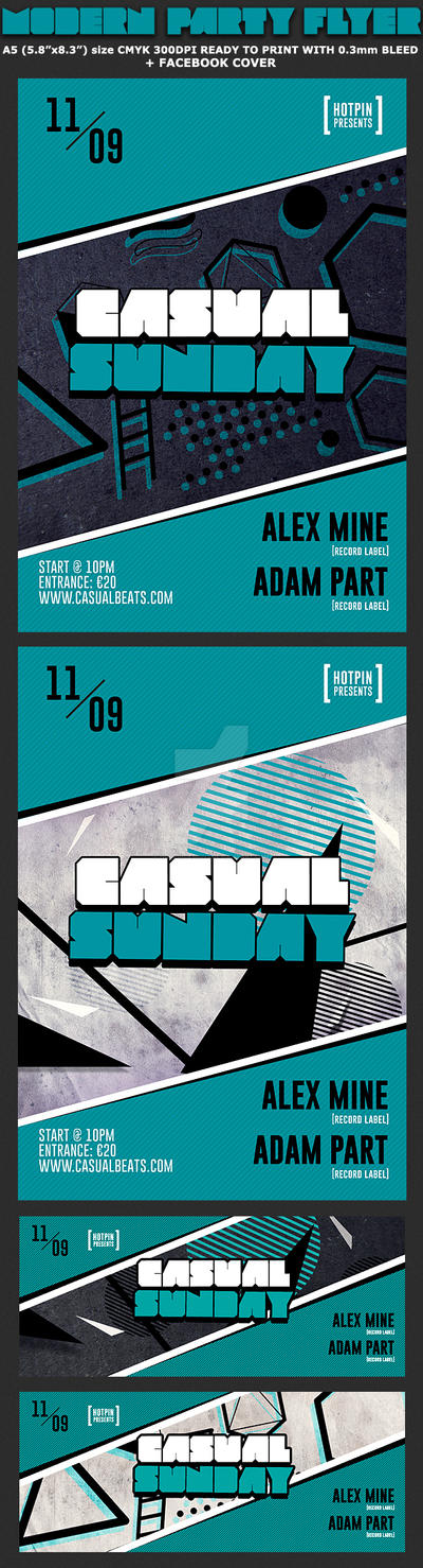 Casual Sundays Party Flyer Template by Hotpindesigns